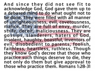depraved mind Romans 1:28-31